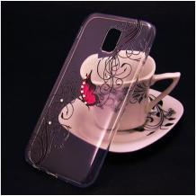 Луксозен силиконов калъф / гръб / TPU за A1 Smart N9 - прозрачен / розова пеперуда