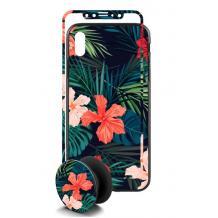 Луксозен твърд гръб 3in1 със стъклен протектор и Popsocket за Apple iPhone 7 / iPhone 8 - цветя