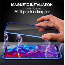 Магнитен калъф Bumper Case 360° FULL за Apple iPhone XR - прозрачен / синя рамка