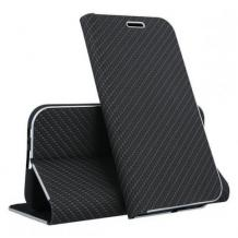 Луксозен кожен калъф Flip тефтер Vennus за Huawei P Smart 2020 - черен / carbon