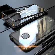 Магнитен калъф Bumper Case 360° FULL за Huawei Mate 20 Pro - прозрачен / черна рамка