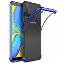 Луксозен силиконов калъф / гръб / TPU за Samsung Galaxy A10 - прозрачен / син кант