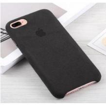 Оригинален гръб Leather Alcantara Case за Apple iPhone SE - Черен