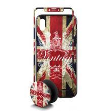Луксозен твърд гръб 3in1 със стъклен протектор и Popsocket за Apple iPhone 7 / iPhone 8 - Retro British Flag