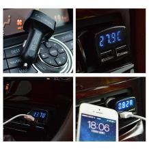 Универсално зарядно устройство за кола 4in1 12V с 2 USB порта 3.1A за Samsung, Xiaomi, Lenovo, Apple, LG, HTC, Sony, Nokia, Huawei, ZTE, BlackBerry и др. - черно / Волтметър / Амперметър / Термометър
