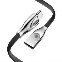 Оригинален USB кабел BASEUS ZINC Alloy 2A за зареждане и пренос на данни 2в1 1m за Apple iPhone 7 / iPhone 8 / iPhone 7 Plus / iPhone 8 Plus / iPhone X - черен със сребристо