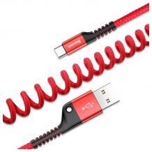 Оригинален USB кабел BASEUS Fish Eye Type-C за зареждане и пренос на данни - червен
