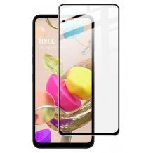 9D full cover Tempered glass Full Glue screen protector LG K52 / Извит стъклен скрийн протектор с лепило от вътрешната страна за LG K52 - черен