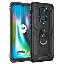 Силиконов гръб TPU Hybrid Magnetic Finger Ring Car Holder за Motorola Moto G9 Play - черен