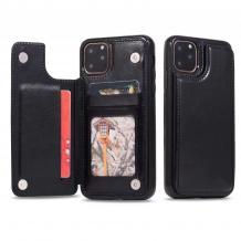 """Луксозен кожен гръб с магнитно закопчаване за Apple iPhone 11 6.1"""" - черен / слот за карти"""