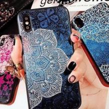 Луксозен стъклен твърд гръб със силиконов кант за Samsung Galaxy A7 2018 A750F - черен / цвете