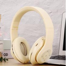 Стерео слушалки Bluetooth A7 / Wireless Headphones / безжични слушалки A7 - кремави