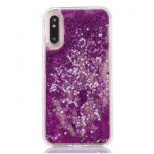 Луксозен твърд гръб 3D Water Case за Samsung Galaxy A10 - прозрачен / течен гръб с лилав брокат