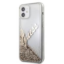 "Луксозен гръб 3D Guess Glitter Case за Apple iPhone 12 Pro Max 6.7"" - златист надпис / златист брокат"