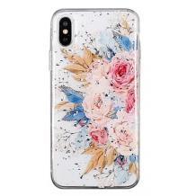 Луксозен силиконов калъф / гръб / TPU за Apple iPhone XR - Божури / блестящи частици