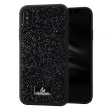 Луксозен твърд гръб с камъни за Apple iPhone X / iPhone XS - черен