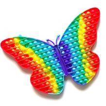 Антистрес Pop it Fidget игра 30x30cm - пеперуда / дъга