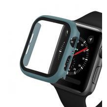 Луксозен кейс 2in1 3D 360° Full Cover Tempered glass за Apple Watch Series 44mm - тъмно зелен