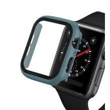 Луксозен кейс 2in1 3D 360° Full Cover Tempered glass за Apple Watch Series 40mm - тъмно зелен