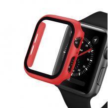 Луксозен кейс 2in1 3D 360° Full Cover Tempered glass за Apple Watch Series 44mm - червен