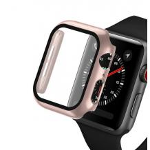 Луксозен кейс 2in1 3D 360° Full Cover Tempered glass за Apple Watch Series 44mm - Rose Gold