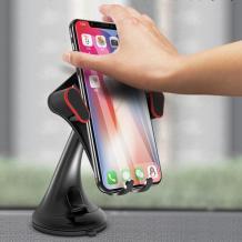 Универсална стойка за кола YESIDO C53 Gravity Car Mount за Samsung, Apple, Huawei, Lenovo, LG, HTC, Sony, Nokia, ZTE, Xiaomi - черна с червено / въртяща се на 360 градуса