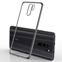Луксозен силиконов калъф / гръб / TPU за Xiaomi Redmi Note 8 Pro - прозрачен / черен кант