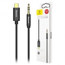 Оригинален аудио кабел BASEUS M01 Type-C към AUX 3.5mm - Черен
