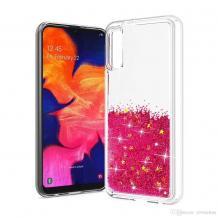 Луксозен твърд гръб 3D Water Case за Huawei Y5 2019 - прозрачен / течен гръб с розов брокат