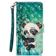 Кожен калъф Flip тефтер Flexi със стойка за Samsung Galaxy A20e - зелен / Bamboo Panda