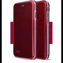 Луксозен кожен калъф Flip тефтер със стойка OPEN за Apple iPhone 7 Plus / iPhone 8 Plus  - бордо / гланц