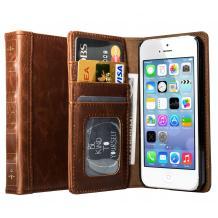 Луксозен кожен калъф Flip тефтер S-BOOK зa Apple iPhone 4 / iPhone 4S - светло кафяв естествена кожа