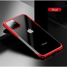 Луксозен твърд гръб Baseus Glitter Clear Case за Apple iPhone 11 Pro Max 6.5 - прозрачен / червен кант