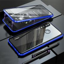 Магнитен калъф Bumper Case 360° FULL за Huawei P30 Lite - прозрачен / синя рамка