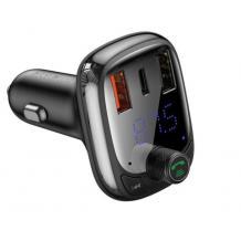 MP3 - FM Wireless transmiter BASEUS T-Type Bluetooth 5.0 / 2xUSB, Type C, QC 3.0, PD, Micro SD / FM трансмитер за кола