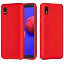 Луксозен силиконов калъф / гръб / Nano TPU за Samsung Galaxy A01 - червен