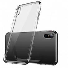Луксозен силиконов калъф / гръб / TPU за Huawei Y5 2019 - прозрачен / черен кант