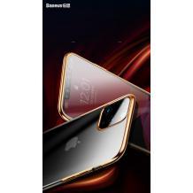 Луксозен твърд гръб Baseus Glitter Clear Case за Apple iPhone 11 Pro 5.8 - прозрачен / златист кант