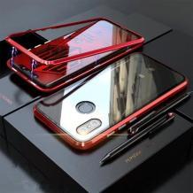 Магнитен калъф Bumper Case 360° FULL за Xiaomi Redmi Note 8T - прозрачен / червена рамка