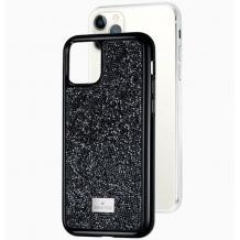 Луксозен твърд гръб Swarovski за Apple iPhone 12 /12 Pro 6.1'' - черен / камъни