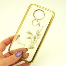 Луксозен силиконов калъф / гръб / TPU Elegant с камъни за Motorola Moto E5 - прозрачен със златист кант / перо