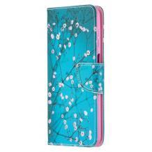Кожен калъф Flip тефтер Flexi със стойка за Huawei P40 lite - син / цветчета