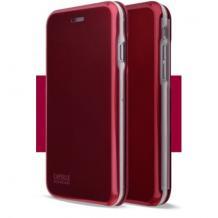Луксозен кожен калъф Flip тефтер със стойка OPEN за Apple iPhone 7 / iPhone 8 - бордо / гланц