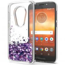 Луксозен твърд гръб 3D Water Case за Motorola Moto E5 - прозрачен / течен гръб с лилав брокат