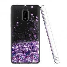 Луксозен твърд гръб 3D Water Case за Nokia 3.1 2018 - прозрачен / течен гръб с лилав брокат