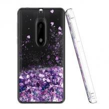 Луксозен твърд гръб 3D Water Case за Nokia 2.1 - прозрачен / течен гръб с лилав брокат