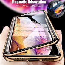 Магнитен калъф Bumper Case 360° FULL за Samsung Galaxy A50 / A50S / A30S - прозрачен / златиста рамка