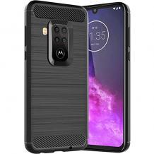 Силиконов калъф / гръб / TPU за Motorola One Zoom - черен / carbon