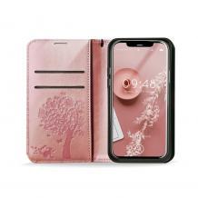 Кожен калъф Mezzo Book със стойка за Apple iPhone 6 / iPhone 7 / iPhone 8 / iPhone SE2 2020 – дърво / Rose Gold