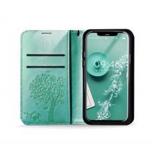 Кожен калъф Mezzo Book със стойка за Samsung Galaxy A32 4G – дърво / мента